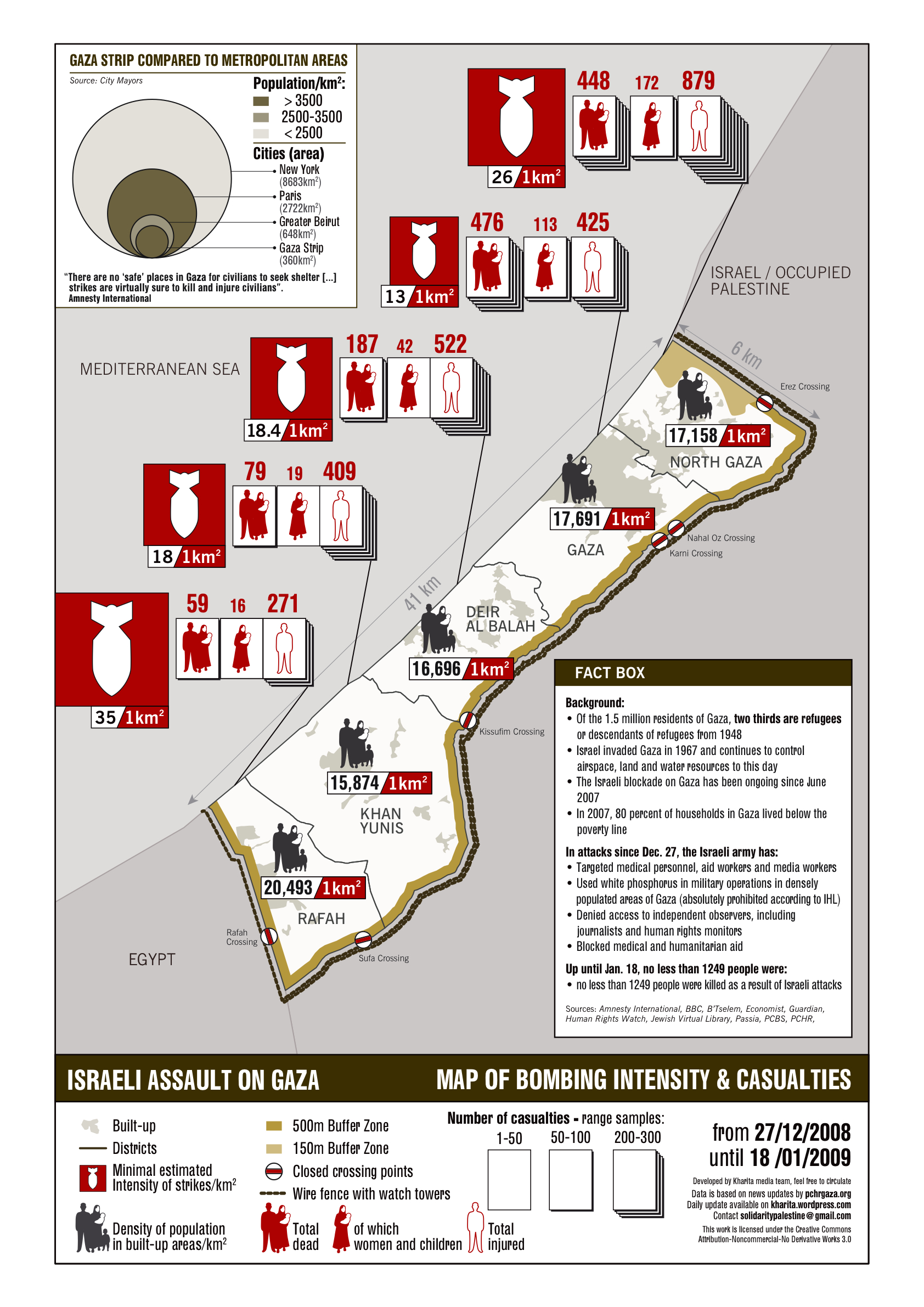 Gaza Map of Bombing Intensity &amp; Casualties, Dec 27-Jan 18, 2009